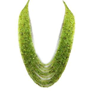Peridot 3 MM Round Faceted Beads Necklace 10 Strand