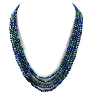 Azurite 2 MM Round Faceted Beads Necklace 5 Strand