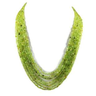 Peridot 3 MM Round Faceted Beads Necklace 7 Strand