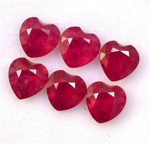 Ruby 7 MM Heart Faceted Cut 10 Pieces