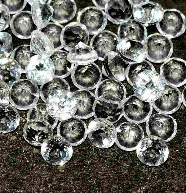 White Topaz 6 MM Round Faceted Cut 50 Pieces