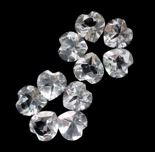 White Topaz 5 MM Heart Faceted Cut 50 Pieces