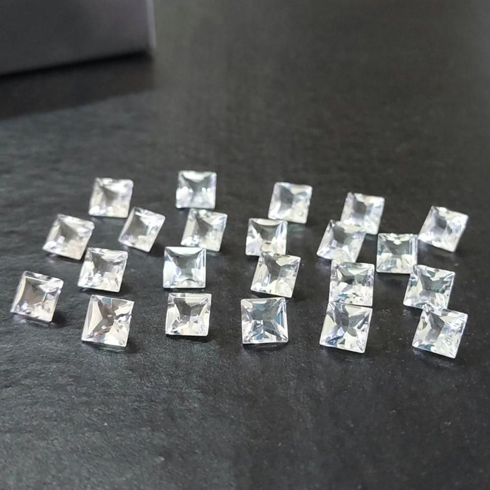 White Topaz 4 MM Square Faceted Cut 100 Pieces