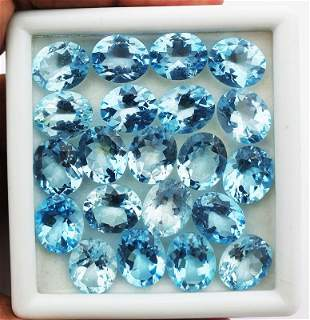 Blue Topaz 8X6 MM Oval Faceted Cut 25 Pieces