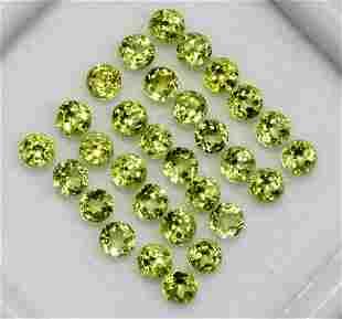 Peridot 2.50 MM Round Diamond Cut 250 Pieces