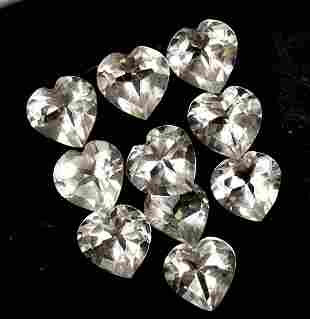 White Topaz 7 MM Heart Faceted Cut 25 Pieces