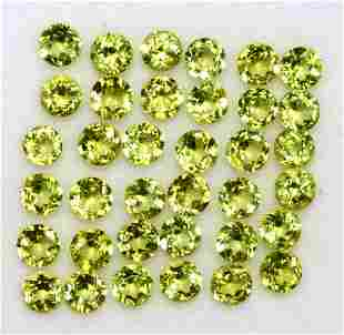 Peridot 3 MM Round Diamond Cut 250 Pieces