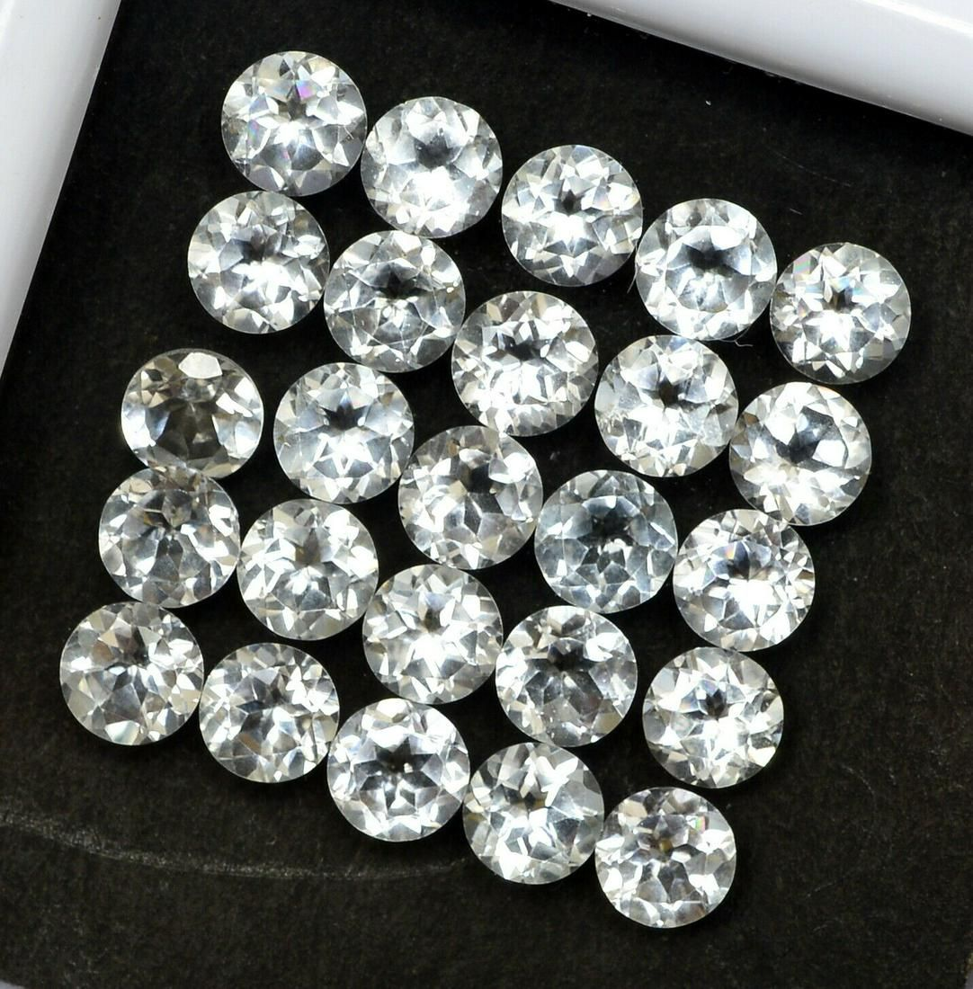 White Topaz 5 MM Round Faceted Cut 50 Pieces