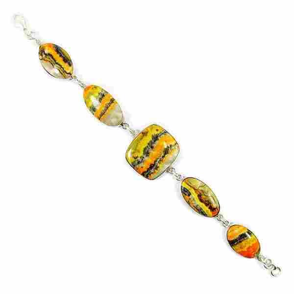 BUMBLE BEE JASPER 92.5 STERLING SILVER BRACELET