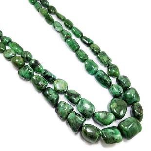 VERY BIG NATURAL EMERALD TUMBLE NECKLACE 2475 CTS RARE