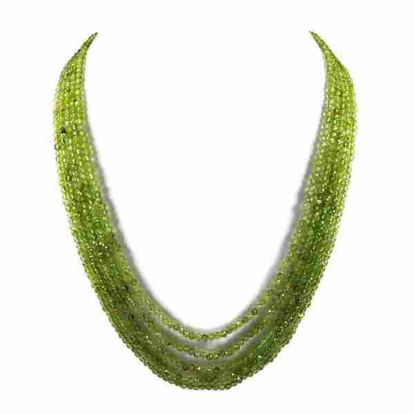 Peridot 3 MM Round Faceted Beads Necklace 5 Strand