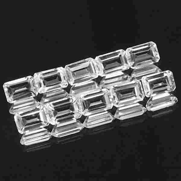 White Topaz 8X6 MM Octagon Faceted Cut 25 Pieces