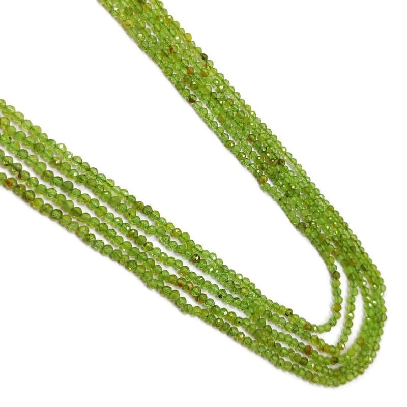 Peridot 2 MM Round Faceted Beads Necklace 5 Strand
