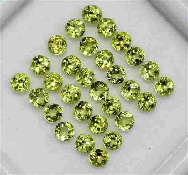 Peridot 2 MM Round Diamond Cut 250 Pieces