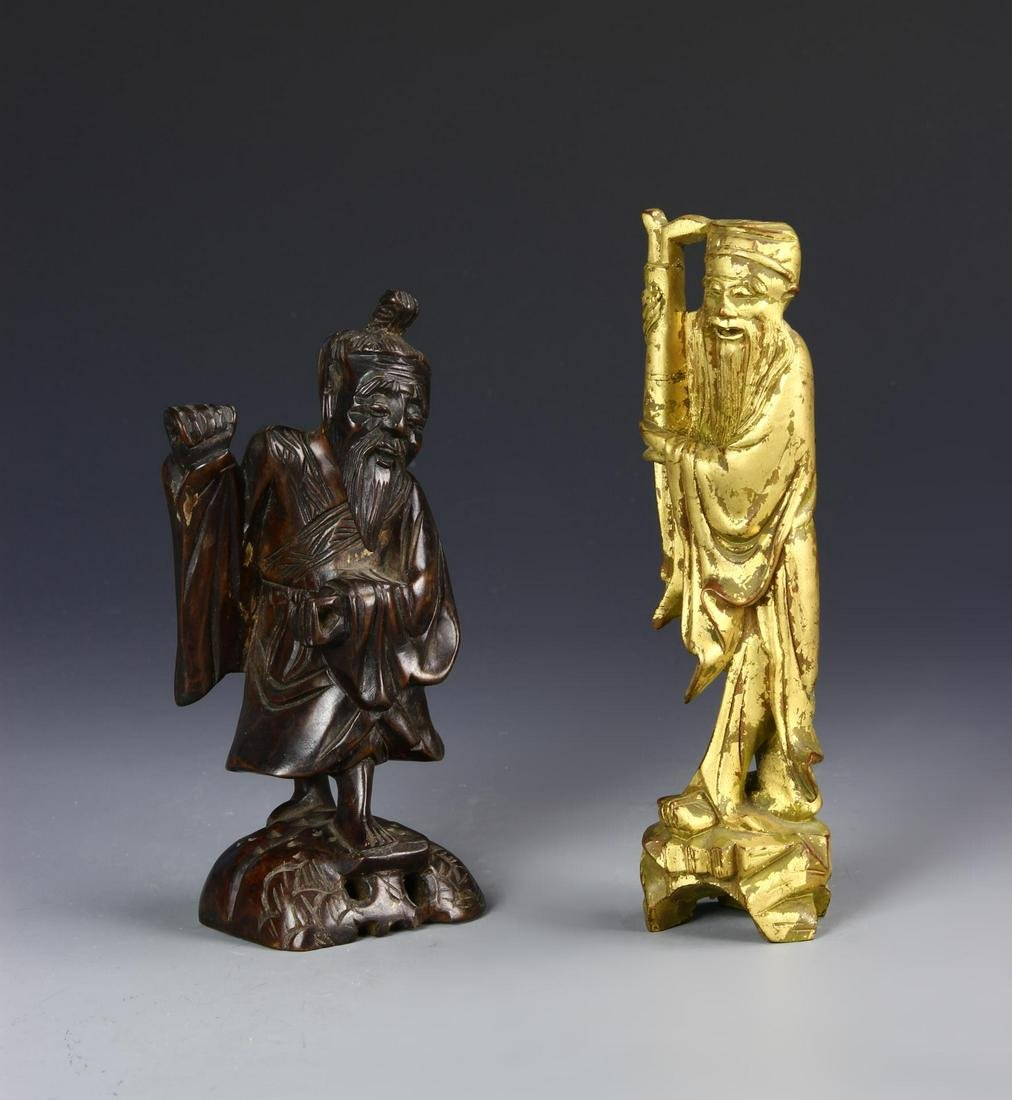 Chinese Two Vintage Wood Figures