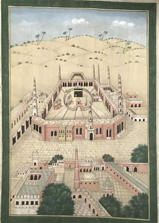 Large Old Islamic Aerial View of Mecca painting