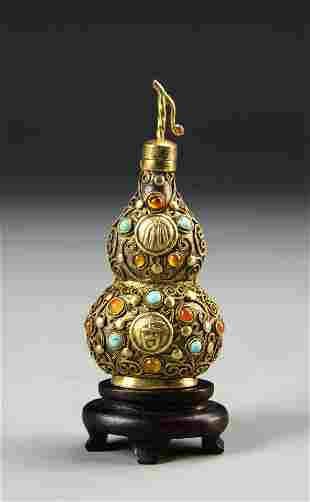 Chinese Gilt Brass Snuff Bottle