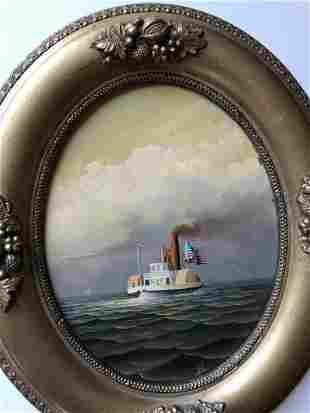 Steam Ship with US Flag Oil on Canvas