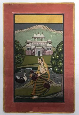 Indian Rajasthani miniature painting of a noble lady