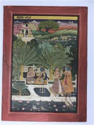Indian Bundi School Miniature from a Barah Masa Series