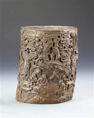 Chinese Antique Bronze Brush Pot