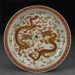 Chinese Gilt and Red Dragon Plate