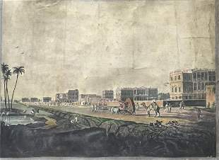 Large 19th Century Oil on Canvas Painting of Calcutta
