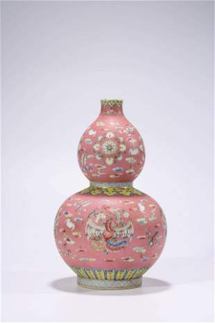 Chinese Porcelain Famille Rose Phoenix Double-Gourd
