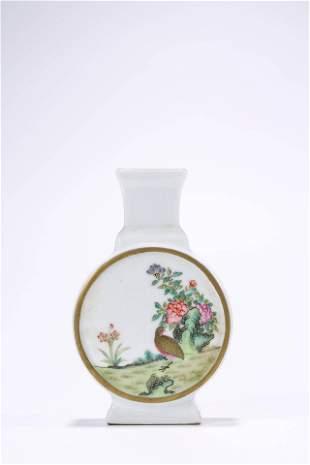 Chinese Porcelain Famille Rose Birds and Poem Vase