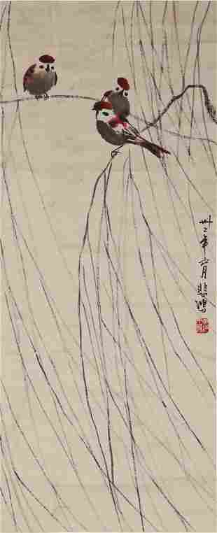 Chinese. A Scroll Painting of Birds by Xu Bei Hong