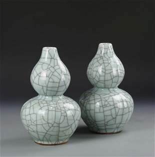 Pair of Chinese Ge Yao Gourd Vases