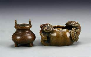 Two Chinese Bronze Incense Burners