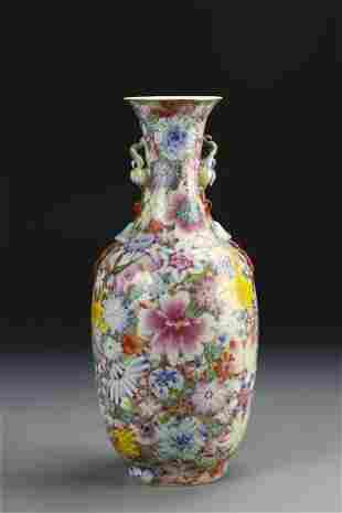Chinese Famille Rose Drilled Vase