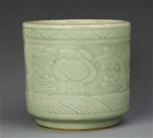 Chinese Celadon Glazed Brush Pot