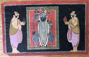 Rajasthani Nathdwara Indian Miniatrue Painting of Srina