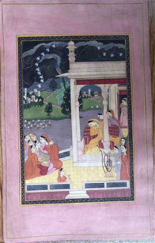 Indian Pahari Miniature Painting of a Queen