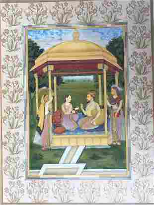 Indian miniature painting of Mughal King