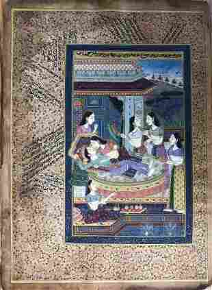 Indian Miniature Painting of King and Queen