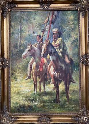 Oil on Canvas Native American Indian
