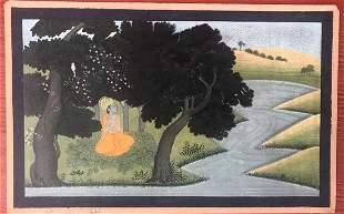 Indian Pahari miniature painting of Krishna