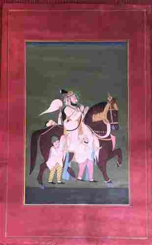 Indian Miniature Painting of a Maharajah on Horse