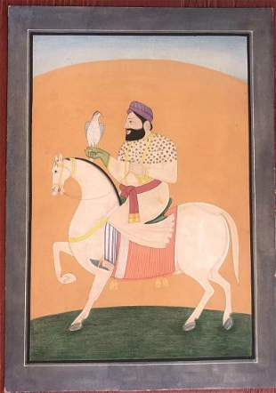 Indian Miniature painting of a Sikh Maharajah