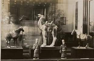 Old Silver Tone Photograph of Chinese Antique Sculpture