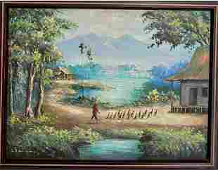 Old Chinese Painting Oil on Canvas