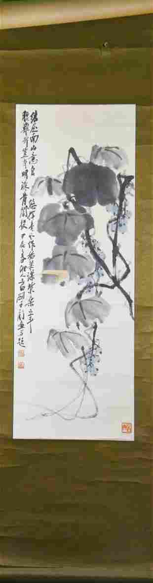 Chinese Scroll Painting Of Plants