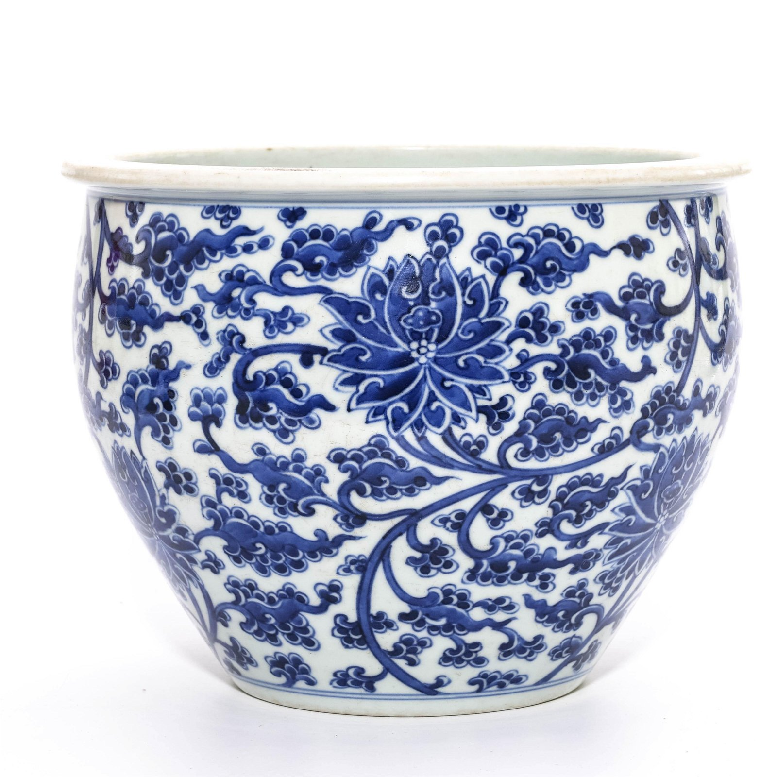 Chinese Porcelain Blue And White Flower Fish Bowl
