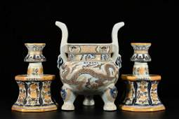 Underglaze Blue and Gilt Ritual Wares Group