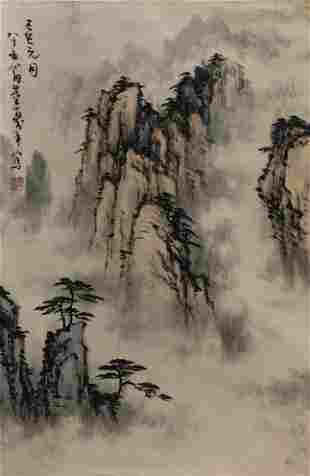 A Chinese Scroll Painting By Dong Shouping