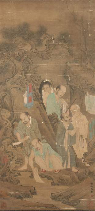 Figures Vertical Scroll on Paper from Liu Songnian