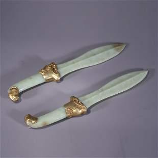 Pairs of Hetian Jade Dagger